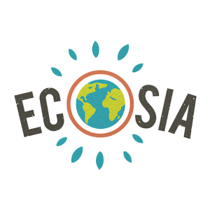 "Ecosia logo with planet in the centre appearing as the ""o"" of the wod"