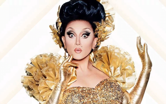 BenDeLaCreme drag queen in gold dress
