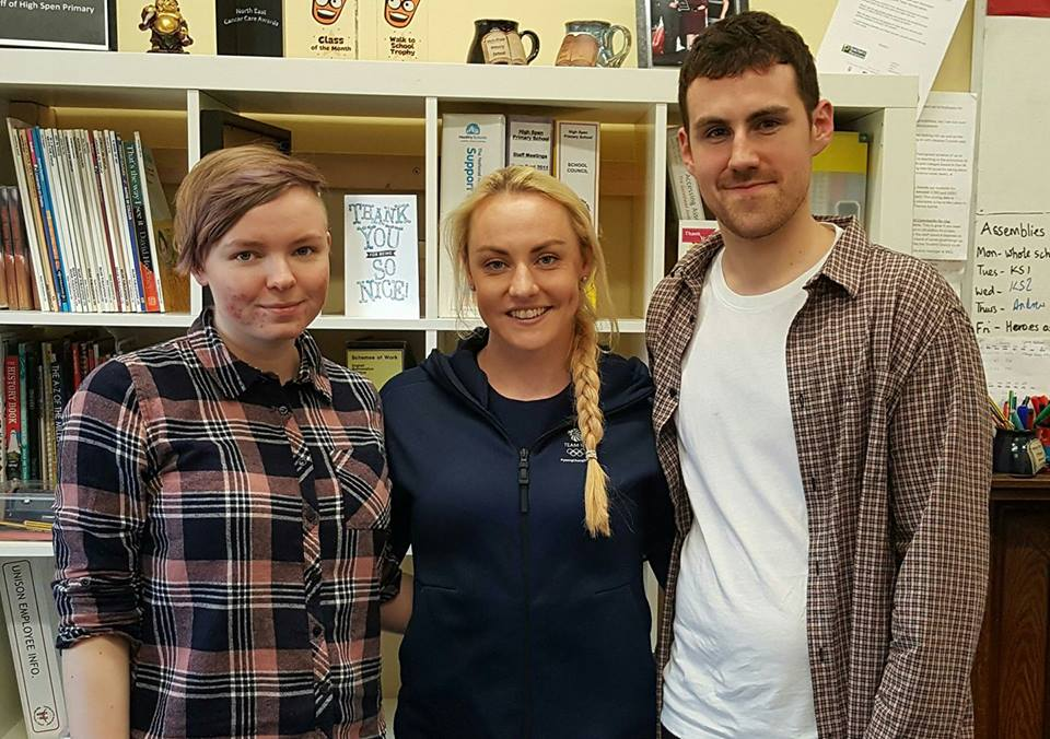 Two of our writers next to Mica McNeill, Women's British Bobsleigh athlete