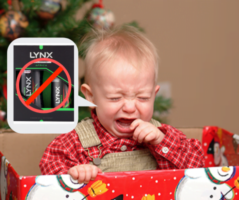 Child sits in Christmas present box while crying with speech bubble containing ban lynx sign