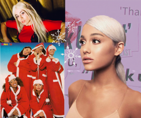 Top left Ava Max, bottom left Spice Girls in Santa Claus outfits, right Ariana Grande on thank u, next cover