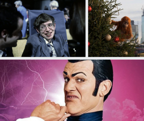 Stephen Hawking (top-left), orangutang on Christmas tree (top-right) and Robbie Rotten from Lazytown (bottom)