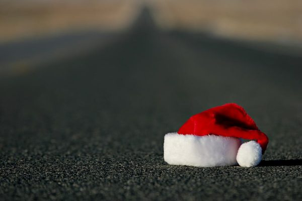 Christmas hat left behind on road