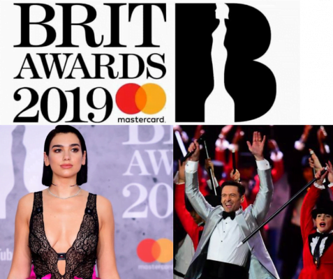 Clockwise from top - Brit Awards 2019 logo, Hugh Jackman performing in silver tuxedo, Dua Lipa on red carpet