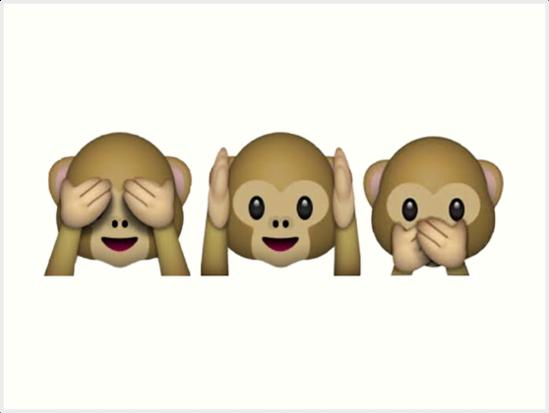 three monkeys emoji hands-over-eyes, hands-over-ears, hands-over-mouth