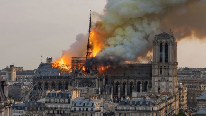 Notre Dame Cathedral in Paris ablaze