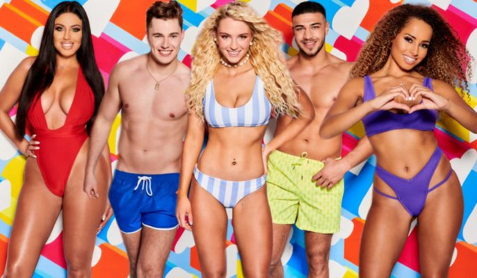 Love Island contestants mixtures of male and female in swimming costumes in front of bright colourful digital background