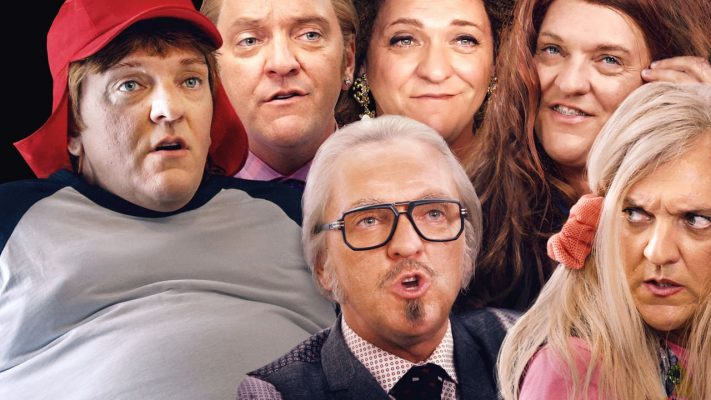 Chris Lilley's characters clockwise from centre: Keith, Gavin, Quentin, Jana, Becky, Joyce